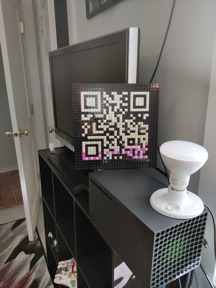 I Have This Qr Code Sitting Behind Me In Zoom Calls. If Someone Scans It, The Light Comes On