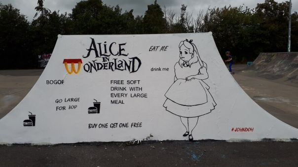 Alice In Wonderland Painted In Glastonbury