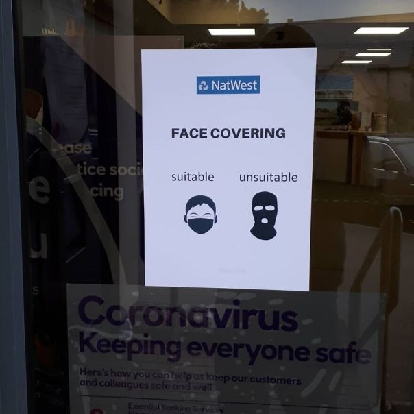 Sitable Facecoverings.natwest Poster Put Up In Bristol
