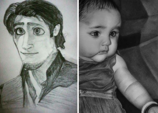 2015 vs. 2020. Pencil Sketch Journey Progress