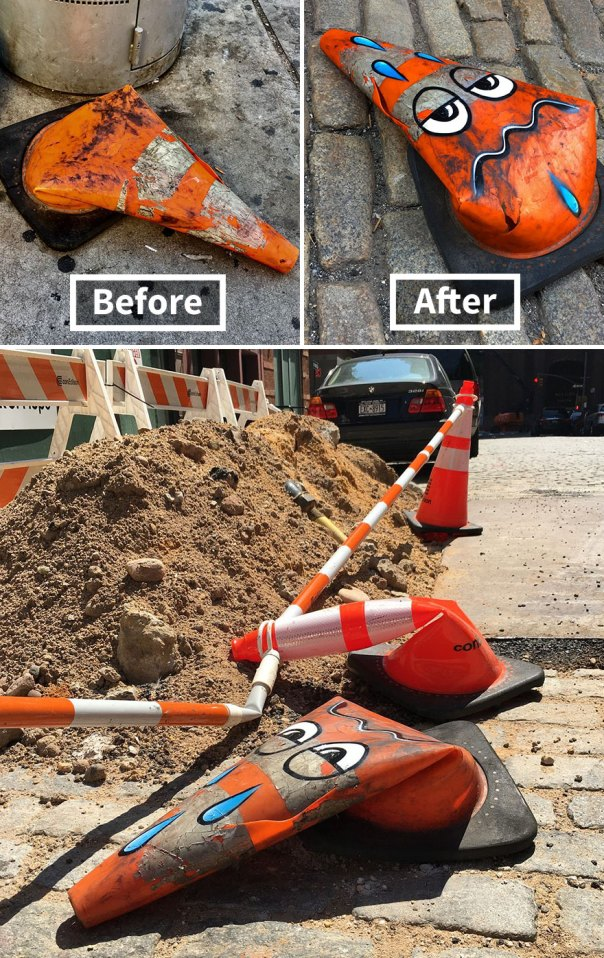 Verified Its So Hot In NYC, Even The Traffic Cones Are Wilting