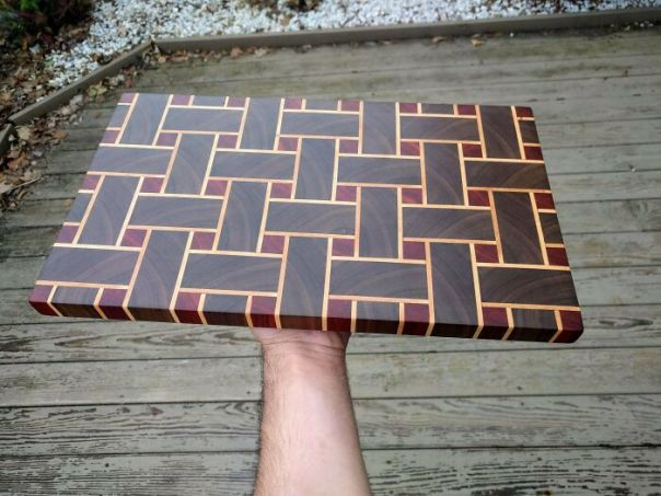End Grain Cutting Board Made From 157 Pieces Of Black Walnut, Birdseye Maple, And Padauk