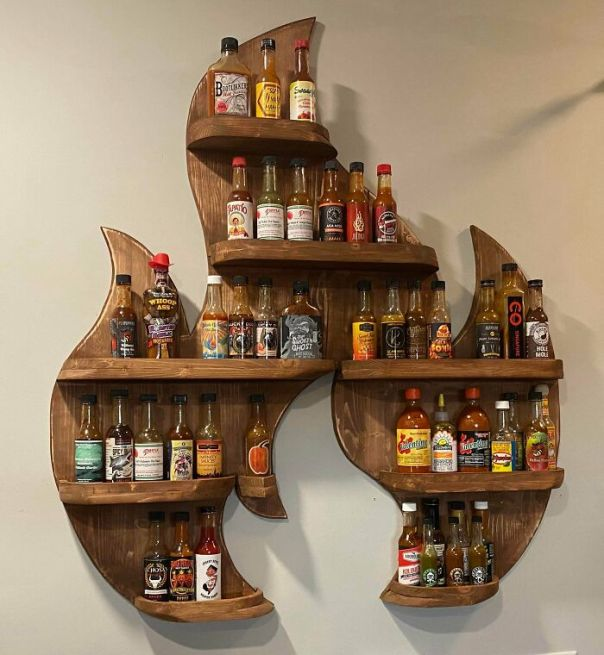 My First Woodworking Project. A Fire Rack To Display All Of My Hot Sauces!