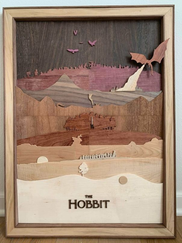 A Rare Look At The Hobbit As A Minimalist Movie Poster Made From 8 Different Woods. I'm Going On An Adventure!