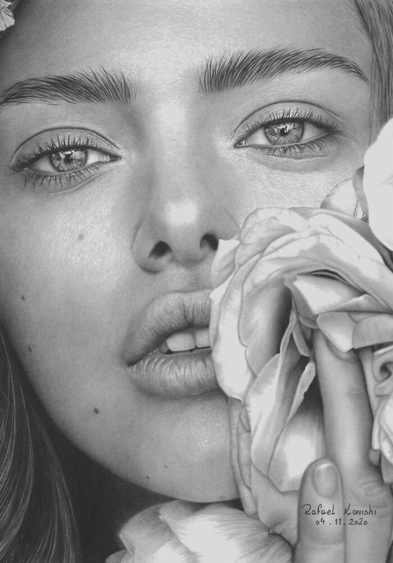Artista brasileiro faz desenhos realistas usando apenas um lápis