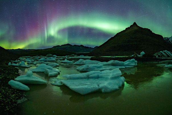 Aurora Borealis At Svinafellsjokull