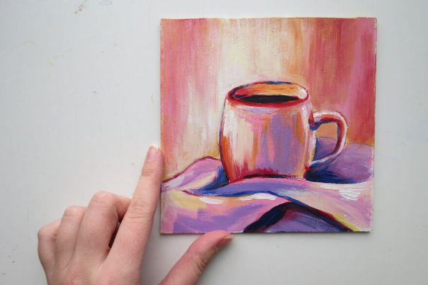 Colorful Hot Cop Of Coffee, Traditional Painting With Acrylic