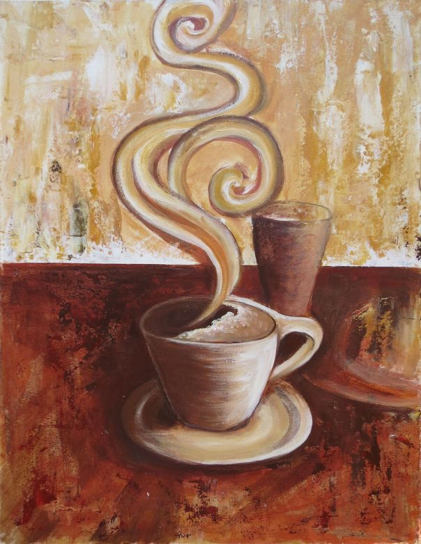 Abstract Cup Of Coffee | Tea Acrylic Painting