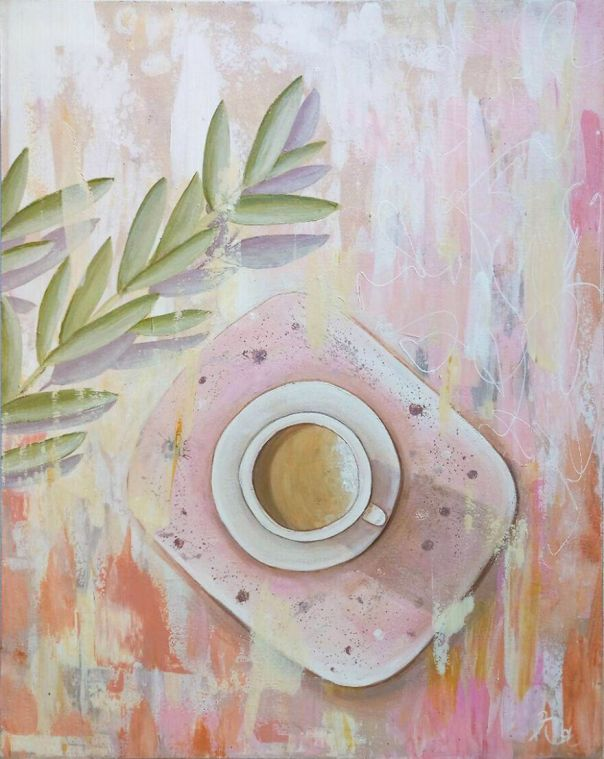 Lovely Pink-Beige Cup Of Coffee, Acrylic Painting