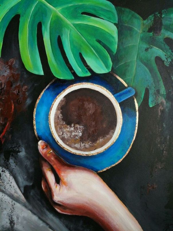 Monstera Leaf And Hot Coffee In Hand, Traditional Painting
