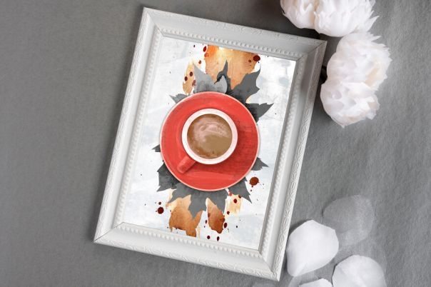 Digital Red Cup Of Coffee - Stylish Abstract Poster