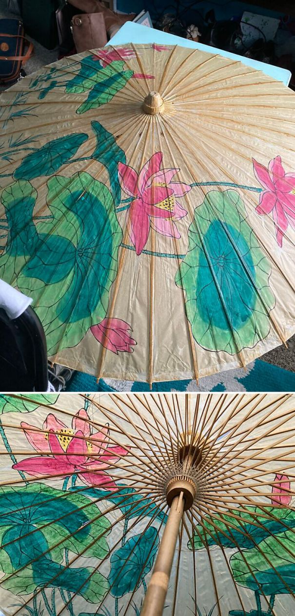 Very Huge Sun Parasol. Has Some Small Tears, But The Weaving And The Handle And The Painting Is Good