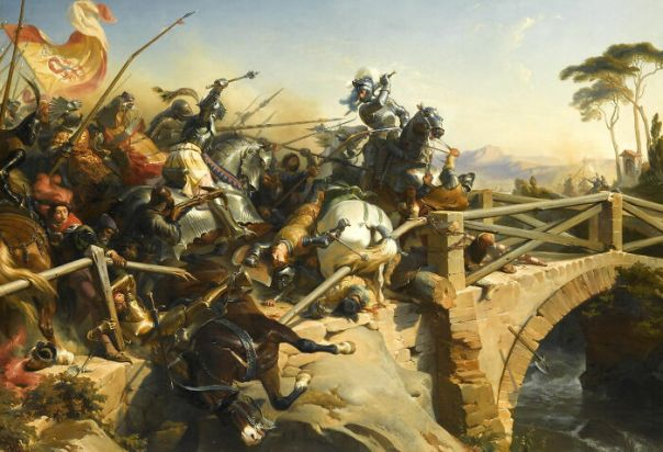 Bayard Defends A Bridge Over The Garigliano, 1505 By Philippoteaux, Félix (1839)