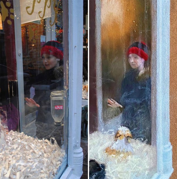 Boy With A Knit Beanie Looking At The Puppies
