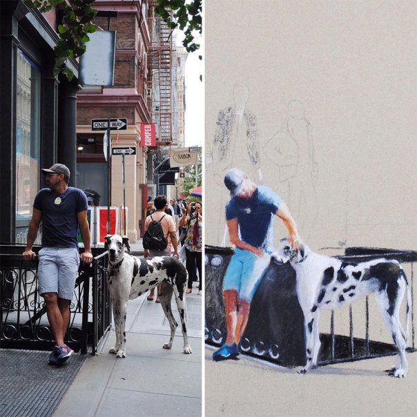 A Man And A Great Dane In Soho, NYC