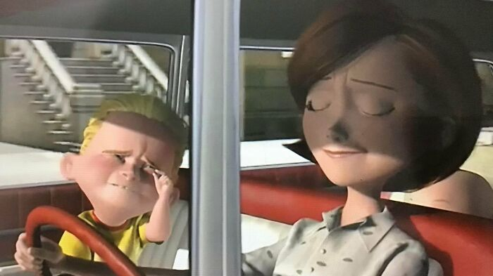 In The Incredibles (2004). Dash Is Sitting In The Front Seat. Reflecting The Lax Child Seating Laws Of The Period, 1962. It Wasn't Until The 80's That Child Seating Laws Were Enacted