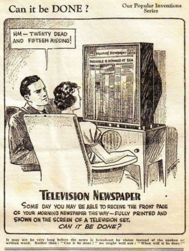 Television Newspaper - Some Day You May Be Able To Receive The Front Page Of Your Morning Newspaper This Way