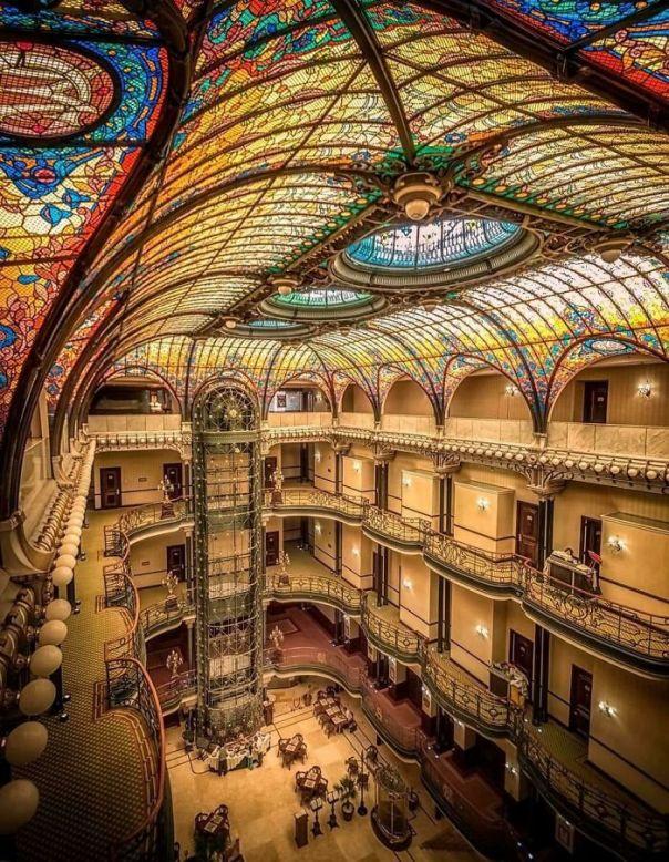 The Art Nouveau 'Gran Hotel Ciudad De México', 1899, By French Architect, Jacques Grüber