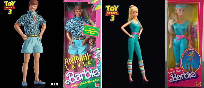 In Toy Story 3 (2010), Ken And Barbie's Designs Are Based On Real Life Toys From The Barbie Toyline. Ken Is Based On The 1988 Animal Lovin' Ken Toy, While Barbie Is Based On The 1983 Great Shape Barbie Toy
