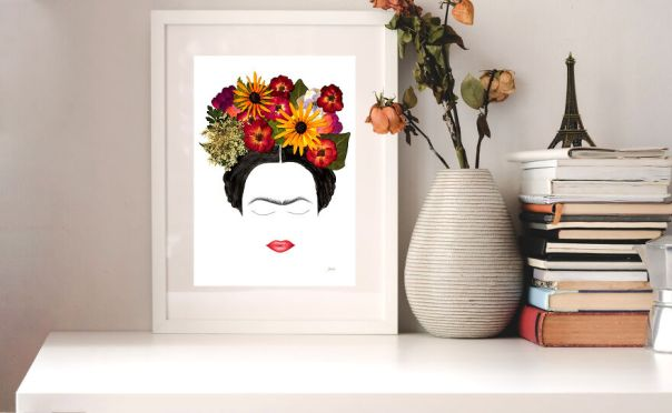 Frida Kahlo Made From Pressed Roses, Rudbeckia Hirta, Hydrangea, Queen Anne's Lace, Zinia Petals, Birch, And Ivy Leaves