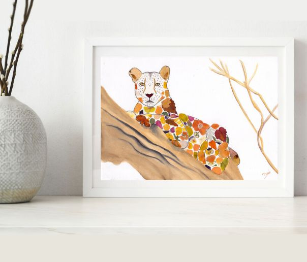African Leopard Made From Pressed Pansies, Sunflower, Rose, And Zinnia Petals