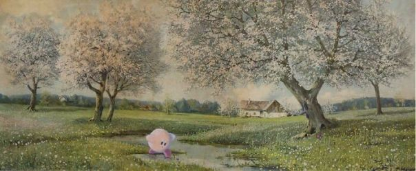 Kirby's Dream Land. The Additions Include Kirby, The Whispy Woods, And A Red Apple