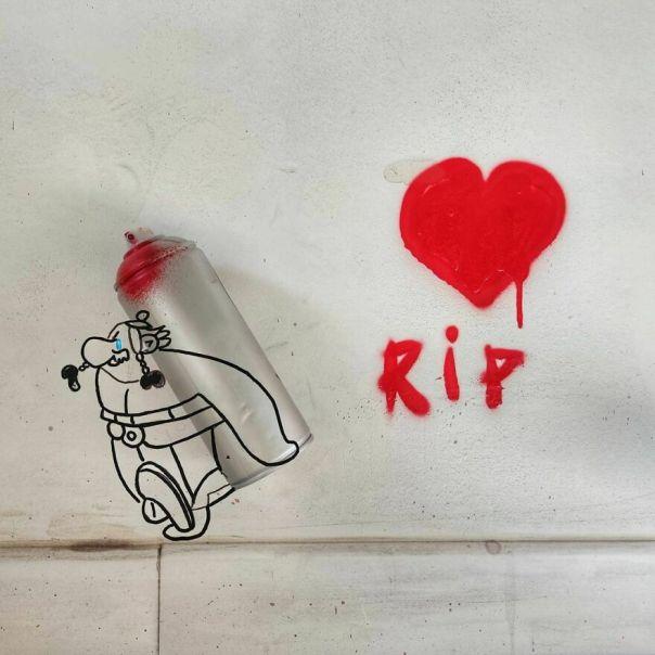Uderzo ❤️❤️❤️ #uderzo #asterix #oakoak #toutemonenfance #streetart #urban #wall #sad #obelix #bd #rip