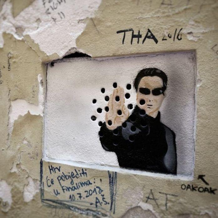 Matrix In Zagreb #matrix #movie #neo #oakoak #urban #streetart #street #wall #stencil #urbanintervention #intervention #art #graffiti #graff #fun #funny #pochoir