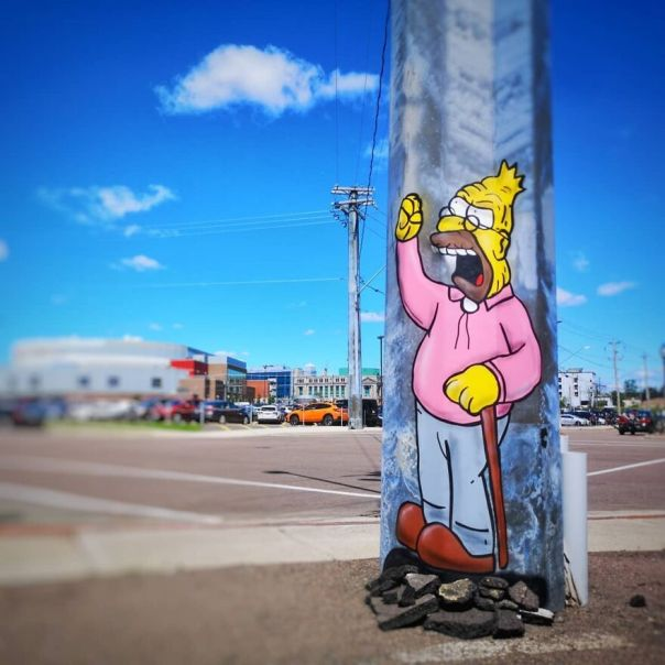 Old Man Yells At Cloud For @festivalinspire moncton Canada #inspire #mtn94 #oakoak #simpson #granpasimpson #thesimpsons #cloud #nuage #moncton #canada #acadie #comic #streetart #urbanart #oaky #graffityart #urban #art #urbanart #graff #stencil #stencilart #abrahamsimpson