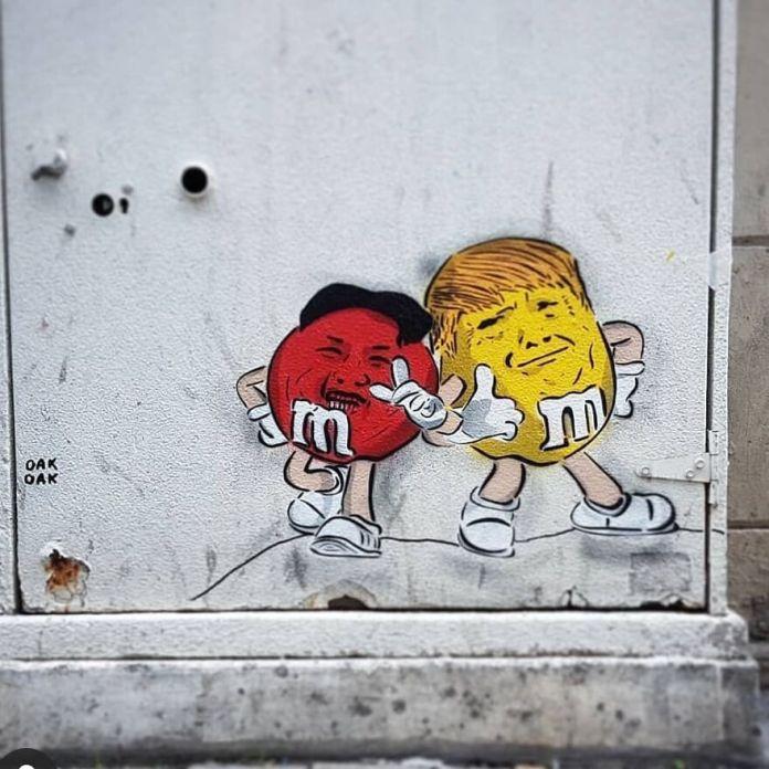 The 2 Bro ... # mtn94 #streetart #oakoak #urban #trump #street #art #bro #friend #mms #fun #news