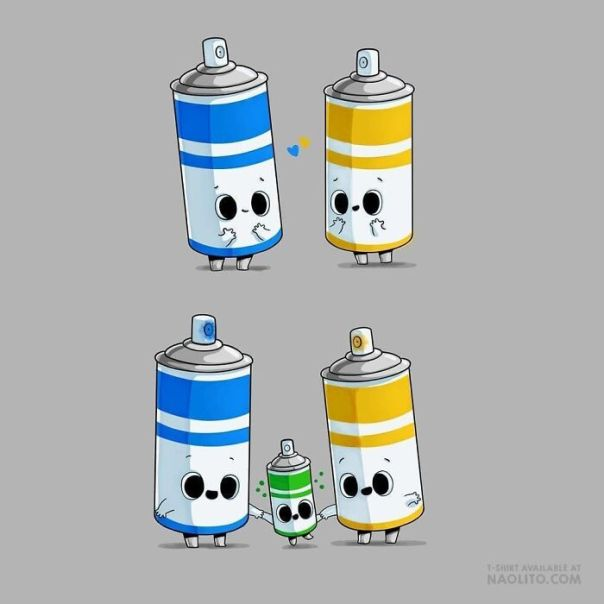 🎨 Colorful Family! I Hope You Like It :) Naolito.com Is Shipping Again! #spray #graffiti #cute #kawaii #aww #awesome #love #newborn #lovely #indieart #originalcharacter #tshirt #funny #illustrator #humorous #comic #comicstrip #colormix #dna #family #love #child #maternity #uplifting #wholesomememes #wholesome