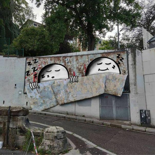I Don't Want To Wake Up!! #oakoak #projet #urbanintervention #streetart #wall #mur #sleep #art #wakeup #bed #lit #illustration