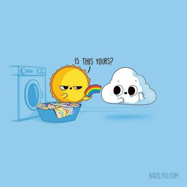 Laundry Mix Up 🌈 2 New Designs Today! I Think I Enjoy Drawing Clouds Too Much 😅 I Published A New Animation At @naolitoons make Sure To Check It Out! #clouds #cloud #laundry #funny #comic #comicstrip #humor #humour #humorousmemes #aww #awww #awesome #sunnyday #sun #sunshine #lovely #lol #washingmachine #clothing