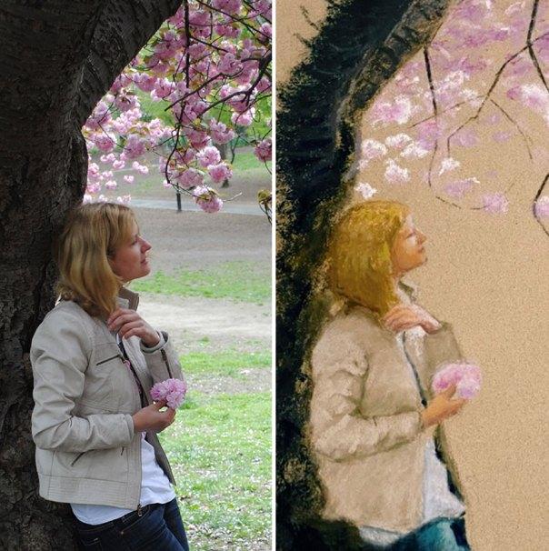 Self-Portrait Sakura Bloom In Central Park