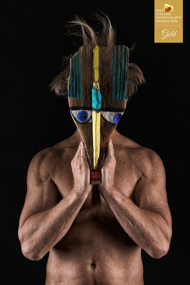 Mask By Martin Eschmann. Gold In Fine Art, People