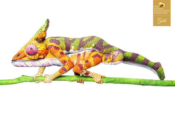 Bodypaint Animals By Mathias Kniepeiss. Gold In Advertising