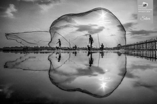 Mandalay Fisherman By Chin Leong Teo. Silver In People