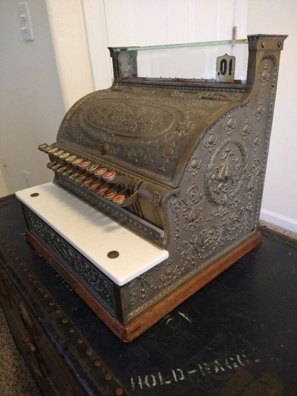 Fully-Functioning 1914 National Cash Register. 1914 Is The Last Year They Used Brass Due To Wwi