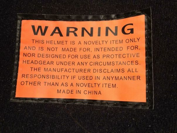Warning Label Inside A Helmet I Received When We Rented 4-Wheelers