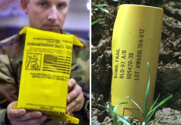 Food Aid Packages And Cluster Bombs, Both Dropped On Afghanistan In 2001