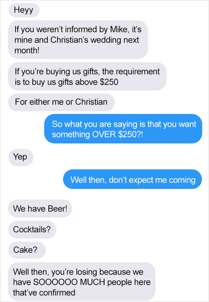Nobody Wants To Pay A Bare Minimum Of 250 Dollars In Gifts To Go To A Wedding