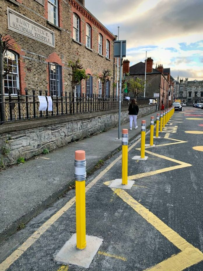 The Bollards Outside This School In Dublin Look Like Pencils