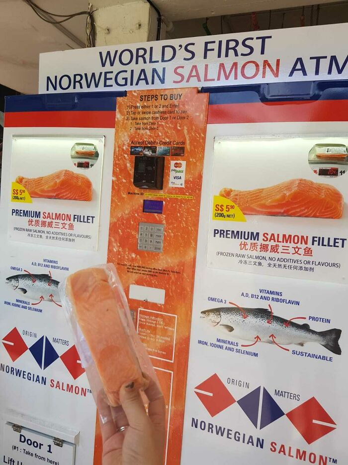 A Tasty Piece Of Salmon From This Salmon ATM In Singapore