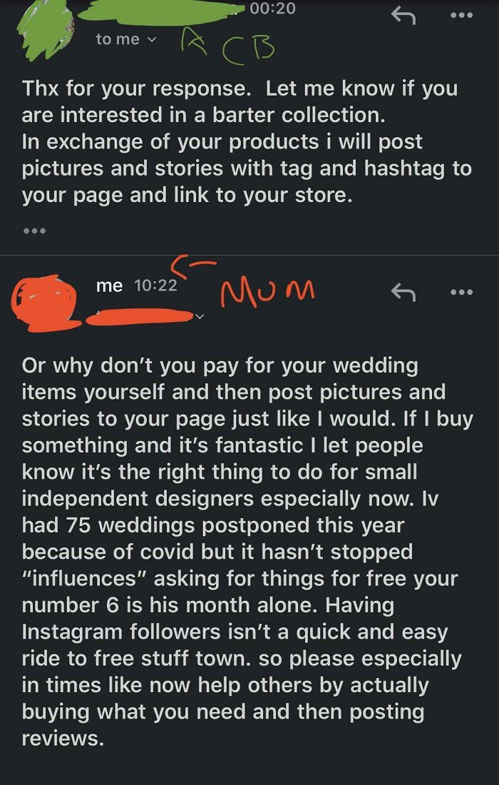 My Mum Is An Artificial Florist And Had An 'Influencer' With 70k Followers Ask For Free Wedding Flowers For Exposure
