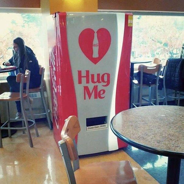My University Has A Vending Machine That Gives Free Coke If You Hug It