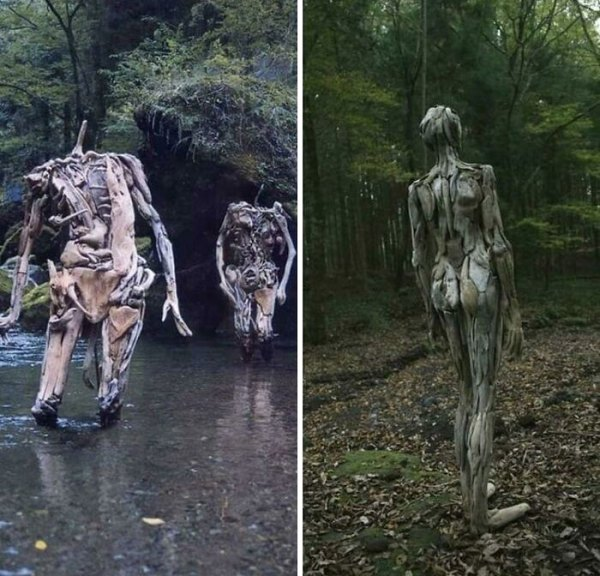 Driftwood Figures Roaming The Forest. By Japanese Artist, Nagato Iwasaki