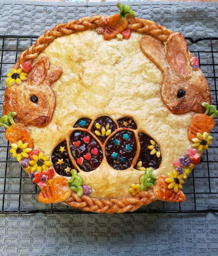 Homemade Cherry/Blueberry Bunny Pie