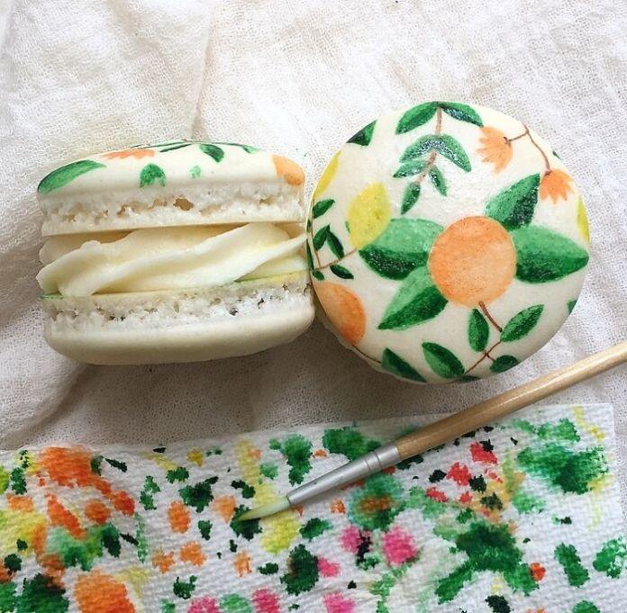 Hand Painted Citrus Macarons