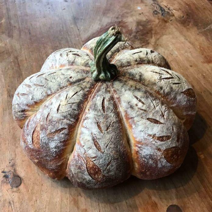 Homemade Pumpkin Shaped Sourdough Bread