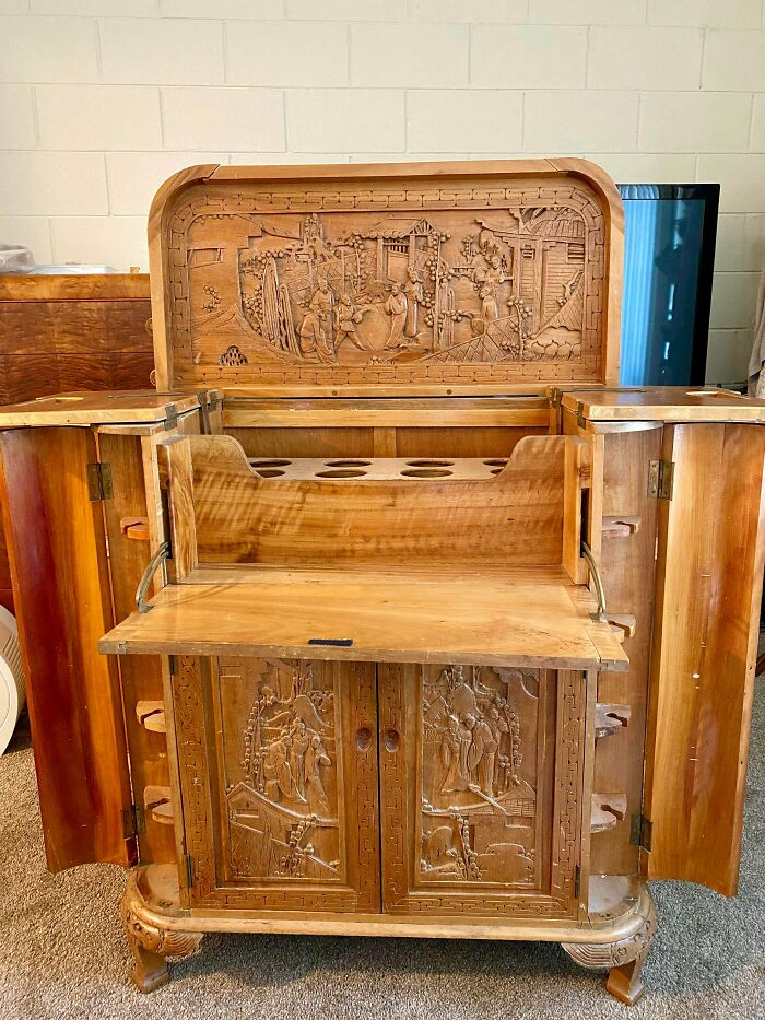 Hand-Carved Vintage Liquor Cabinet On The Curb!